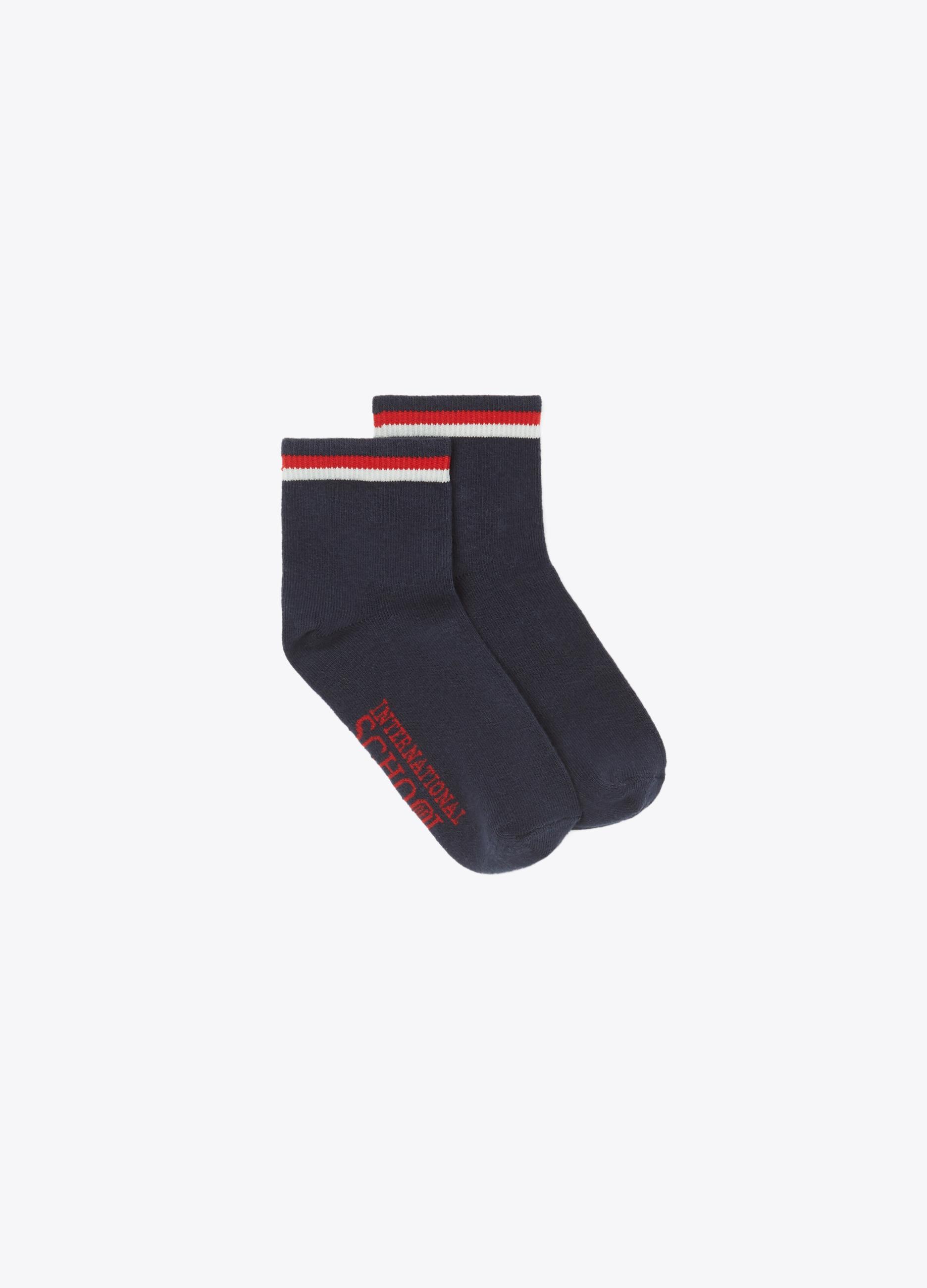 Short stretch socks with ribbing