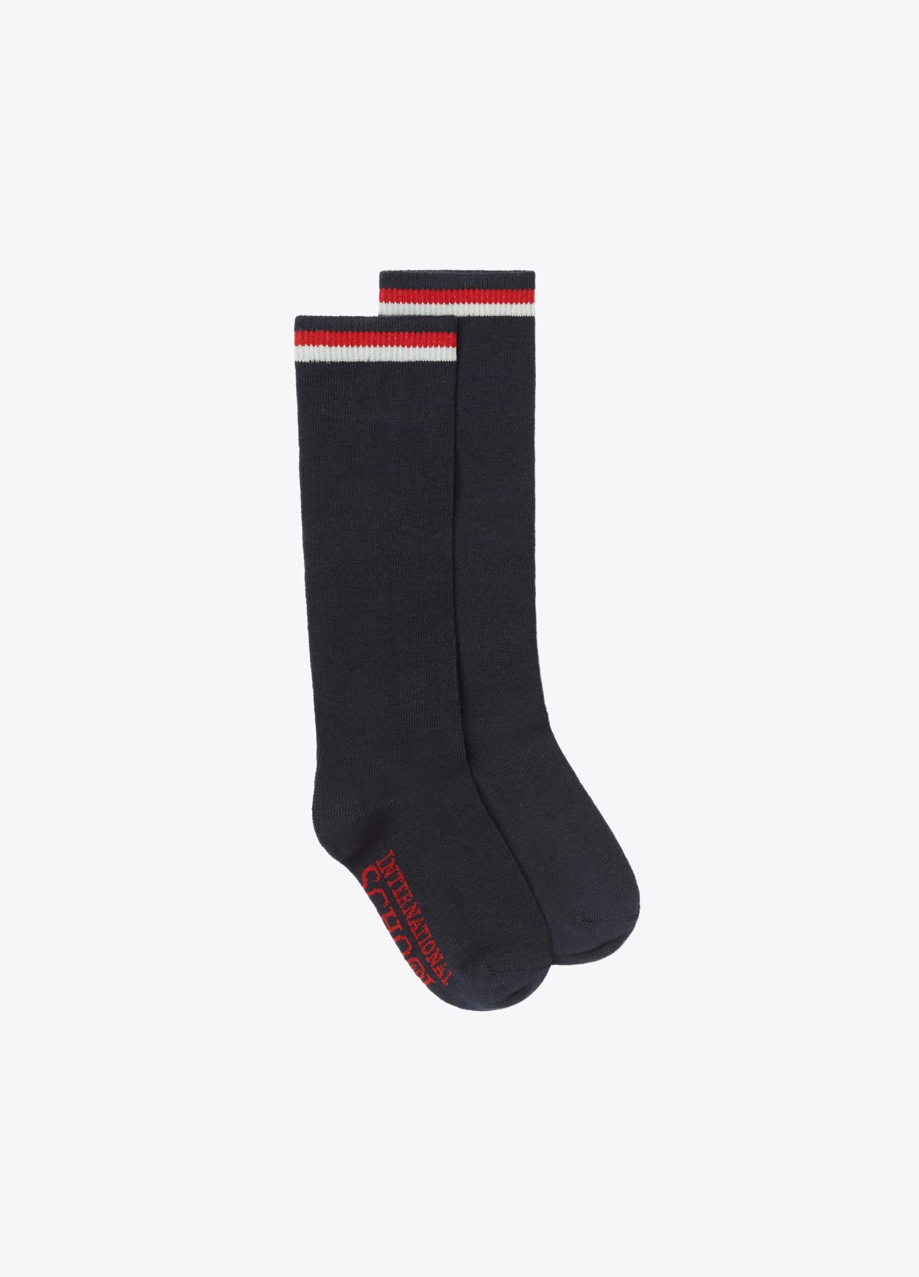 Long stretch socks with ribbing