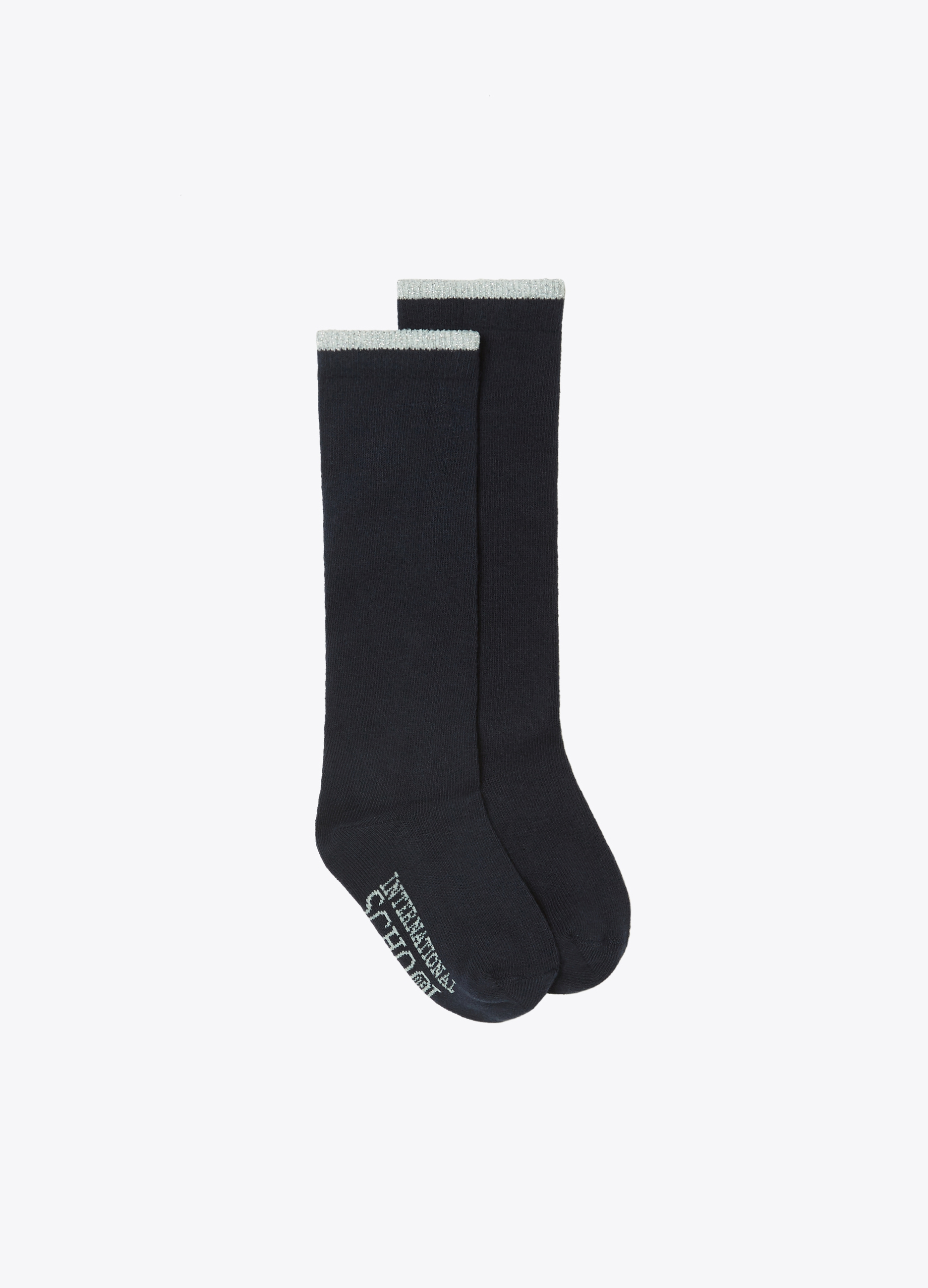 Long solid colour ribbed socks